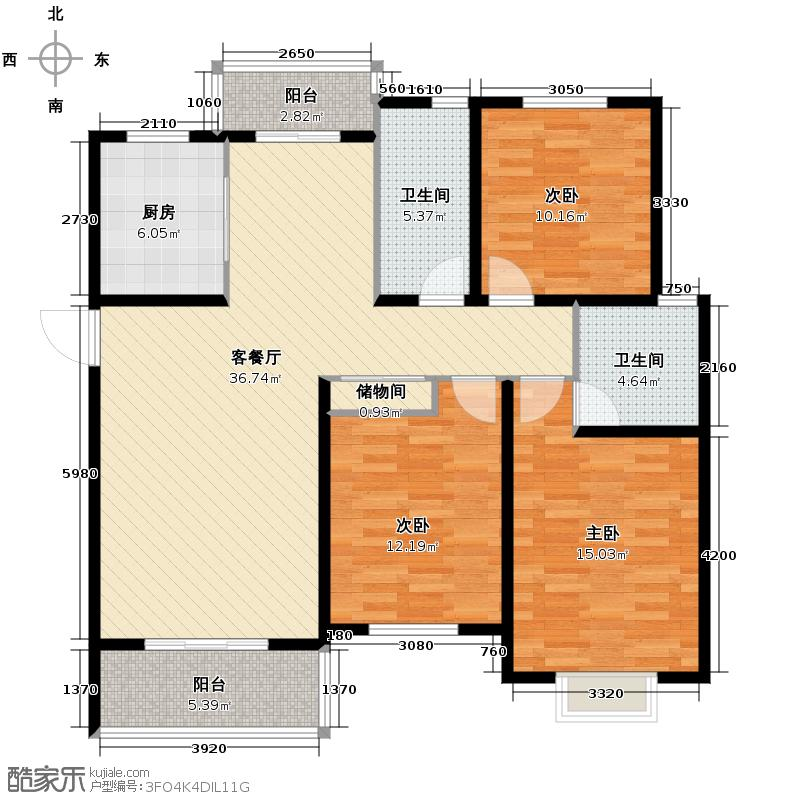 东城丽景132.00㎡户型3室1厅2卫1厨