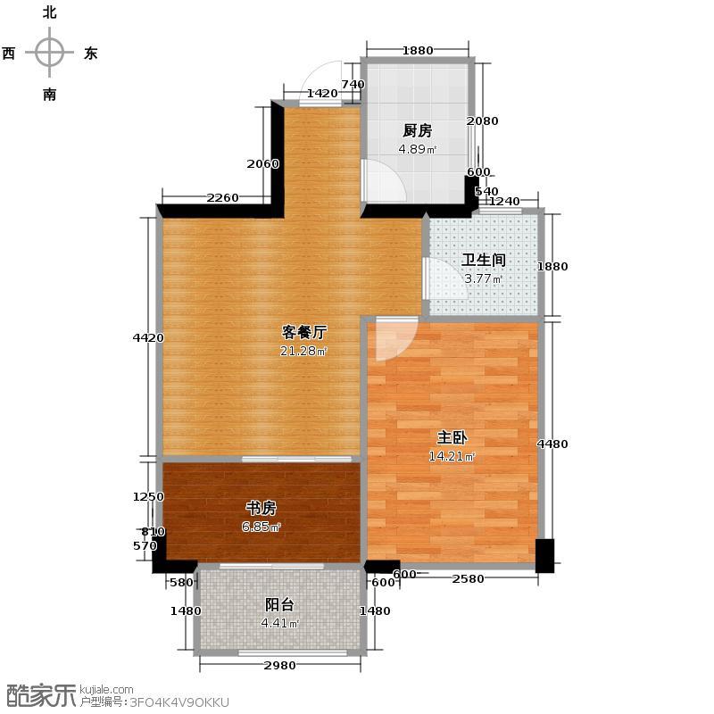 望城73.09㎡14号楼G-A1户型2室1厅1卫1厨