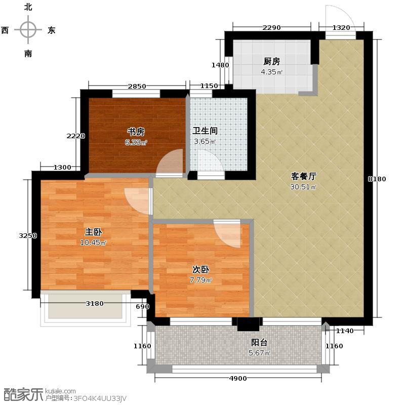 滨江金色黎明89.00㎡大二期B-3号楼2单元02室户型3室1厅1卫