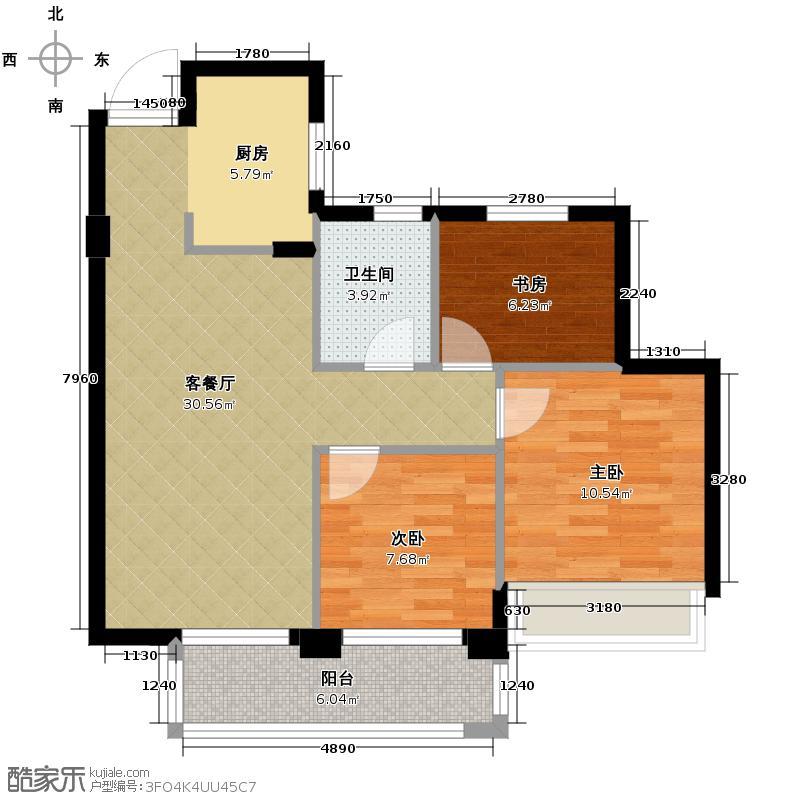 滨江金色黎明89.00㎡大二期D-3号楼1单元02室、03室11号楼02室户型3室1厅1卫