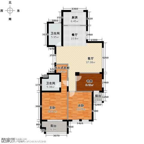 紫园3室1厅2卫1厨132.00㎡户型图