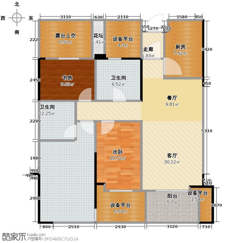 绿城玉兰花园115.00㎡C3户型3室2厅2卫
