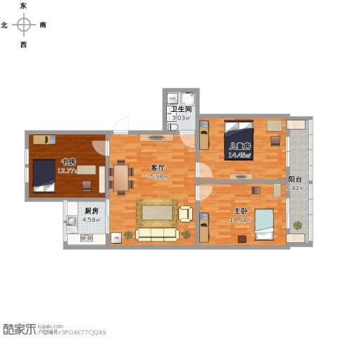 中发里3室1厅1卫1厨115.00㎡户型图