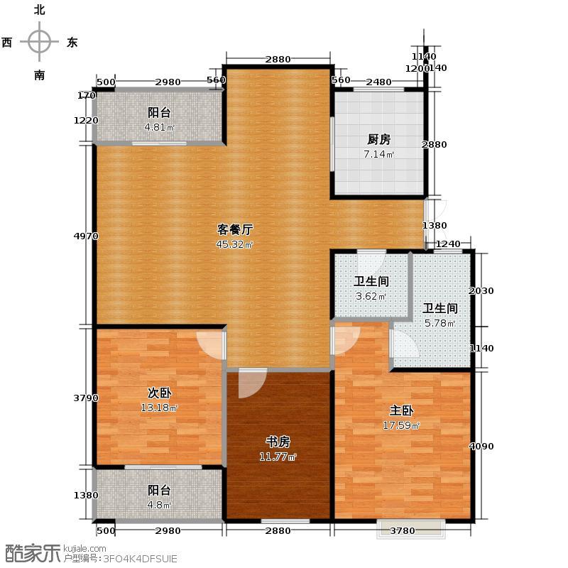 新桥公寓129.01㎡户型3室1厅2卫1厨
