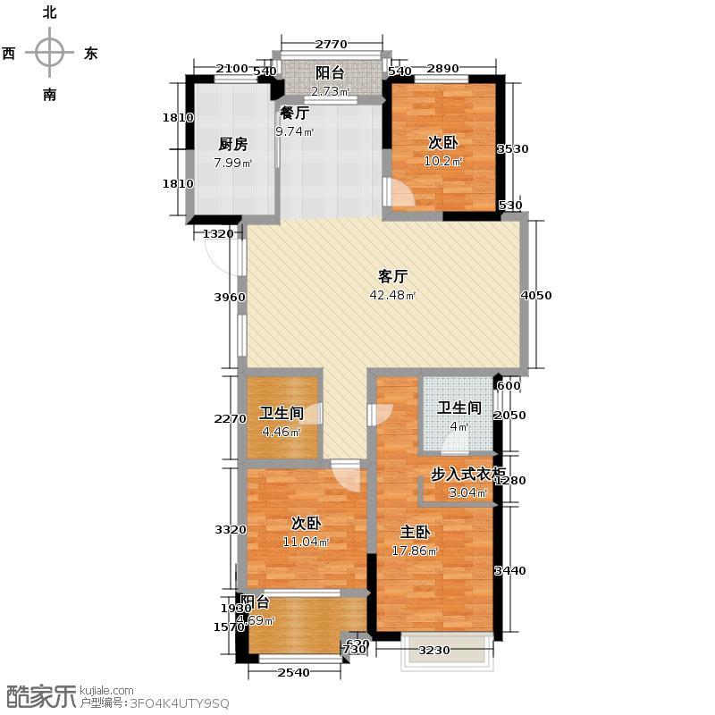 龙湖滟澜山135.00㎡C户型3室1厅2卫1厨