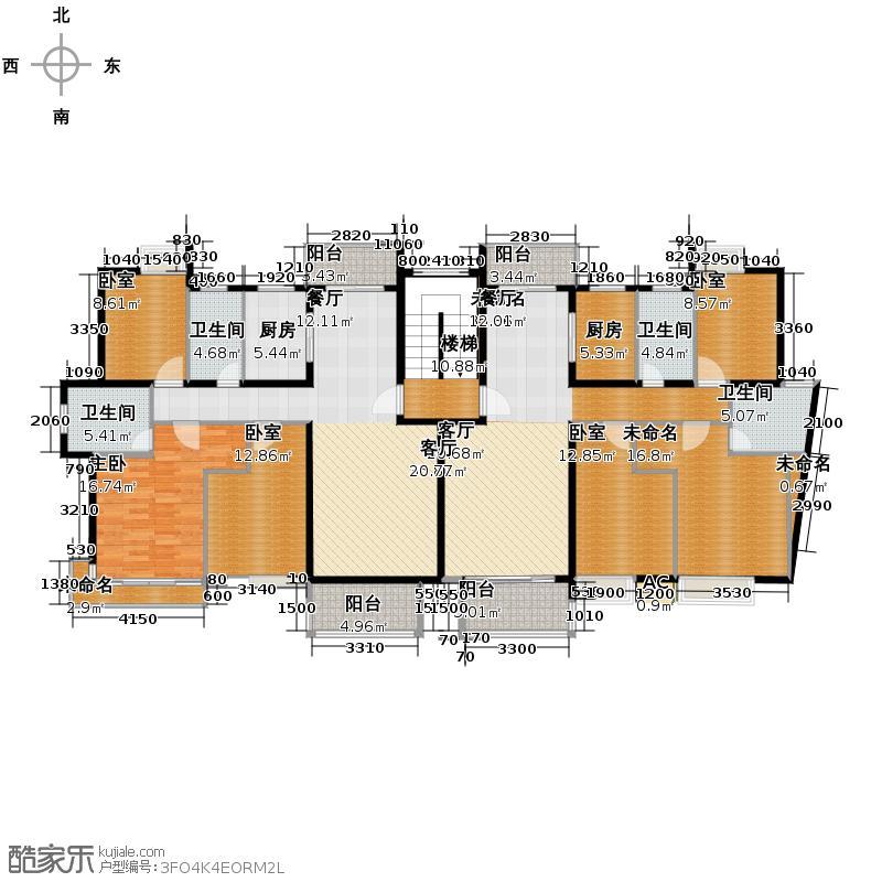 萧宏普罗旺斯117.00㎡户型1室1厅4卫2厨
