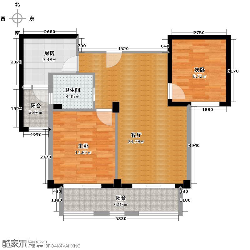 金世纪运河丽园88.99㎡A3户型2室1厅1卫1厨
