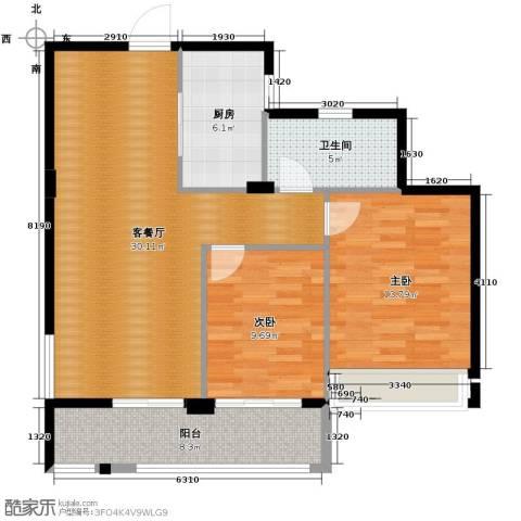 曙光之城2室1厅1卫1厨89.00㎡户型图