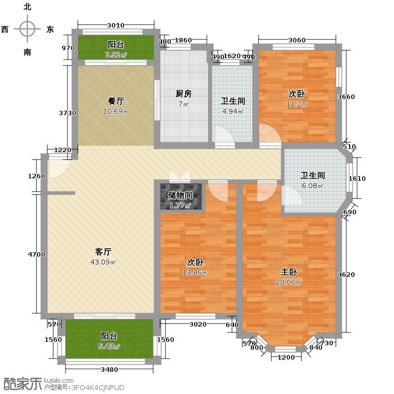 怡景花城别墅131.73㎡户型3室1厅2卫1厨