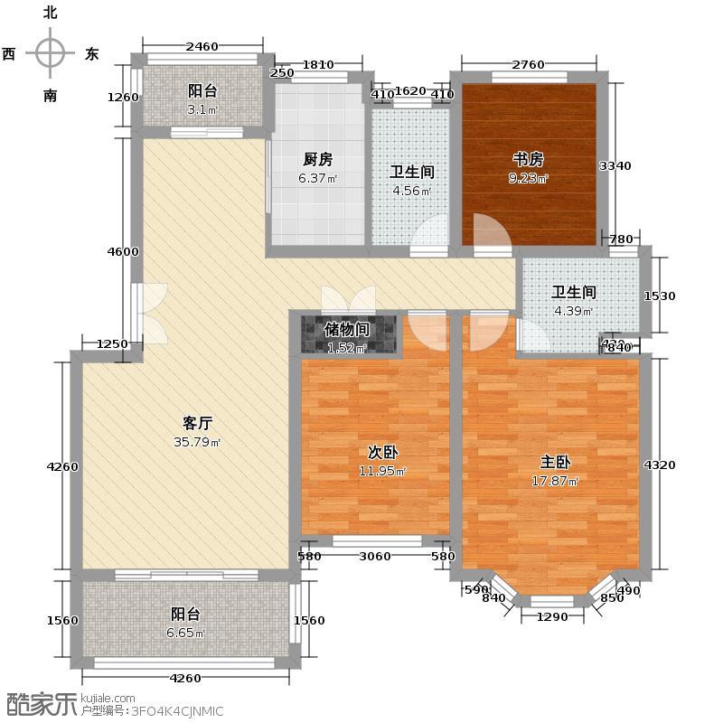 怡景花城别墅115.85㎡华鸿户型3室1厅2卫1厨