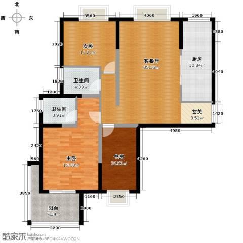 梦琴湾3室1厅2卫1厨131.00㎡户型图
