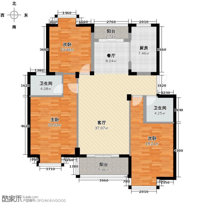 竹海水韵别墅126.76㎡户型3室1厅2卫1厨