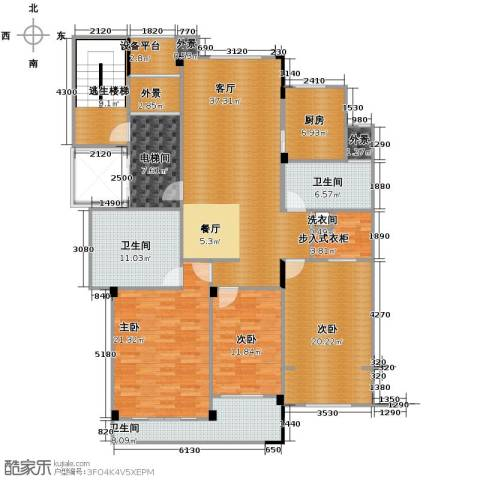 德信臻园3室1厅3卫1厨164.00㎡户型图