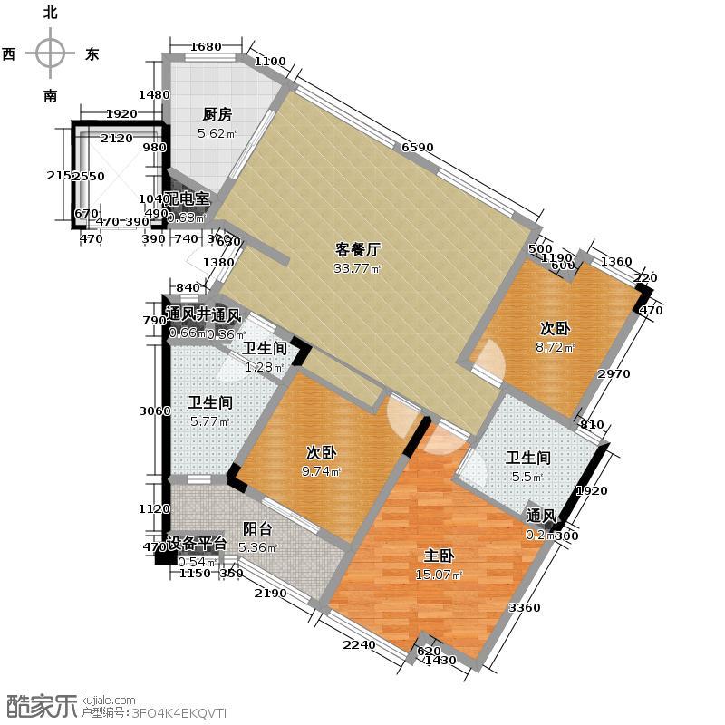 筑境2050125.69㎡户型3室1厅3卫1厨