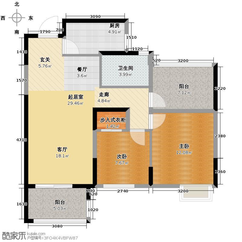 万和玺园89.00㎡B标准层奇数层户型2室1卫1厨