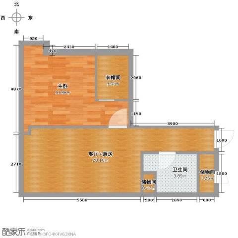 百大绿城西子国际1室0厅1卫0厨80.00㎡户型图