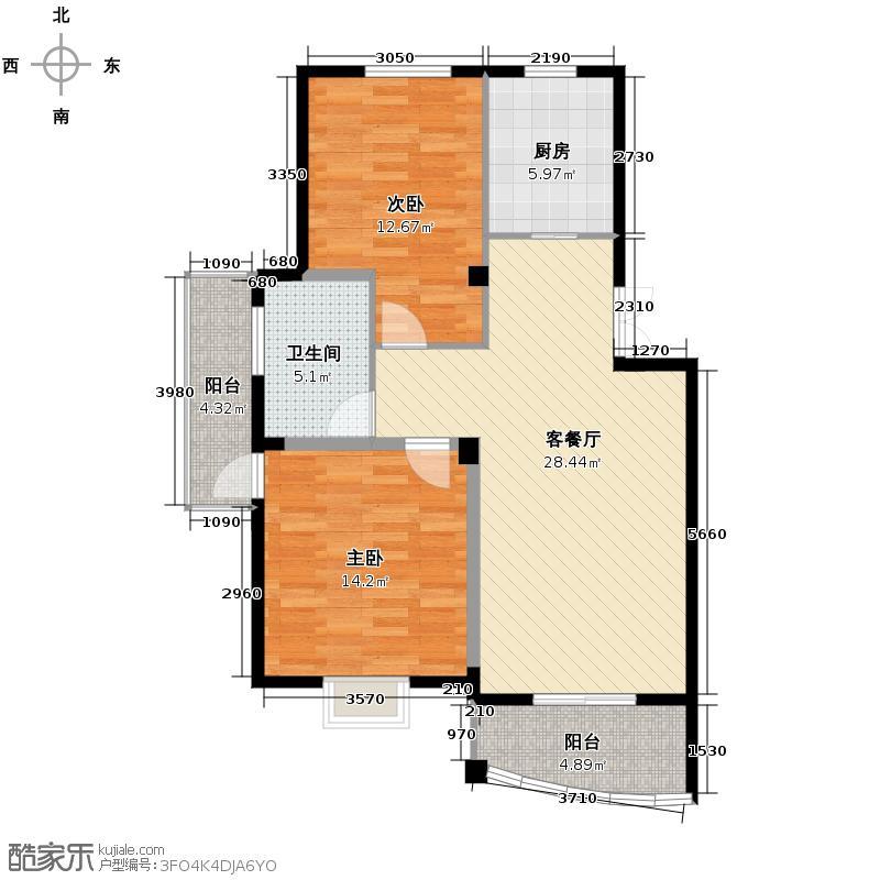 西城时代家园89.48㎡a1户型2室1厅1卫1厨