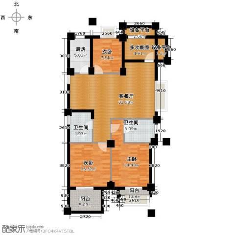 德信早城3室1厅2卫1厨121.00㎡户型图
