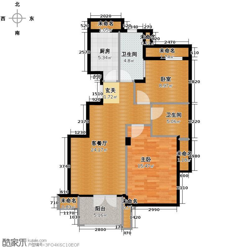 星桥桂花城90.00㎡1、2、11号楼边套8号楼西边套户型2室2厅1卫