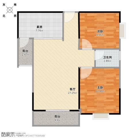 傣泐金湾2室1厅1卫1厨91.00㎡户型图