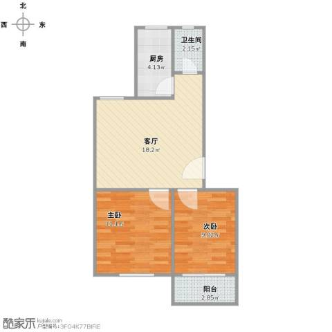 岭兜二里2室1厅1卫1厨64.00㎡户型图