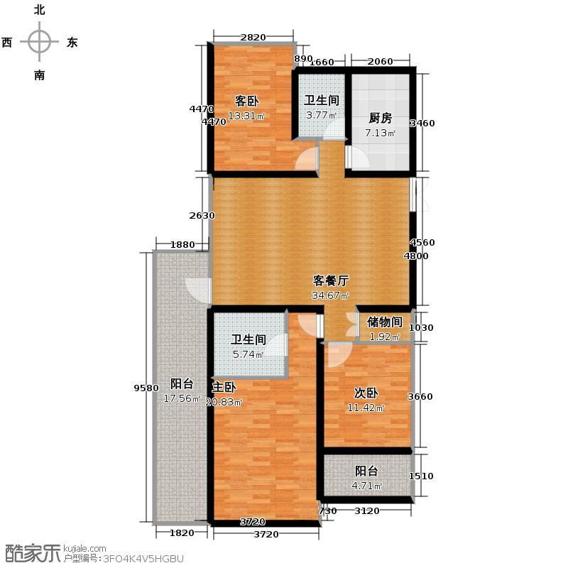 野风启城129.00㎡2号楼3单元西边套户型3室1厅2卫1厨