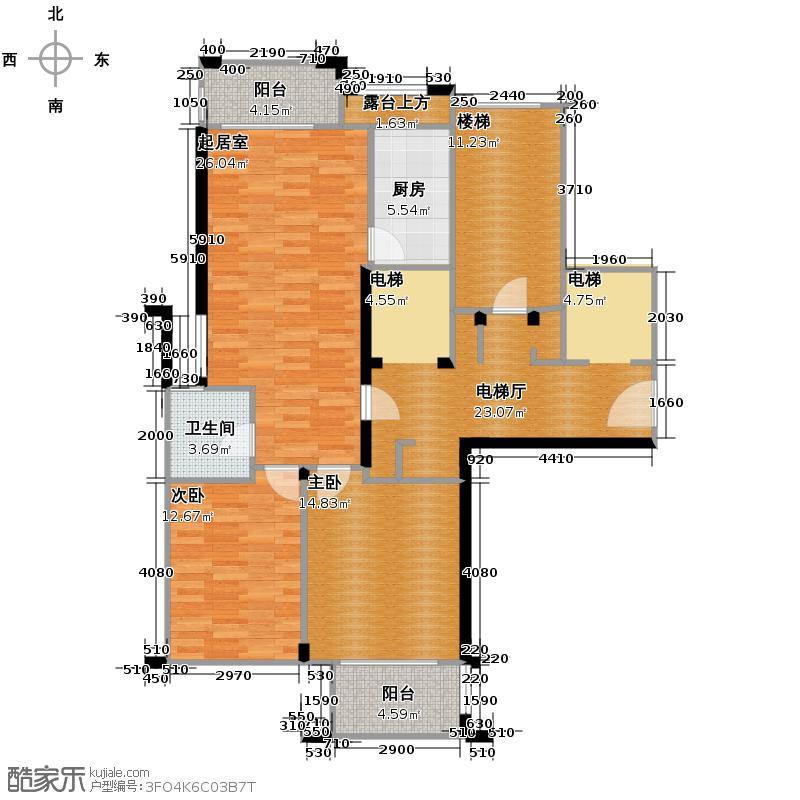 绿城翡翠湾92.69㎡1号楼中间套B1户型2室2厅1卫