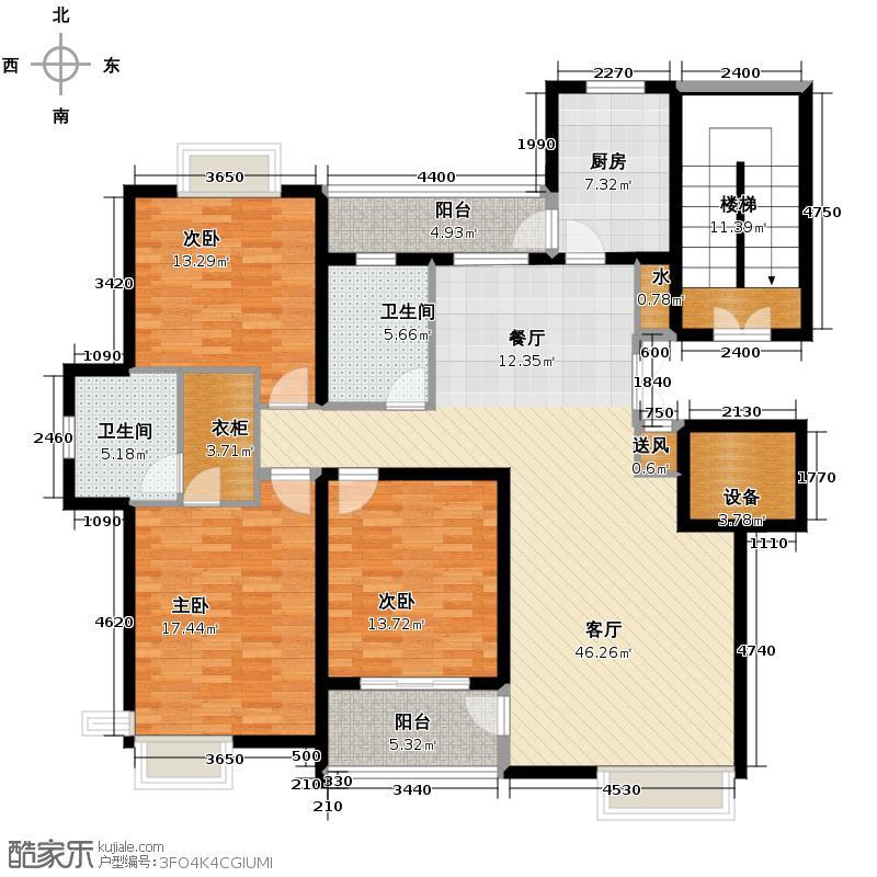 凤凰家园158.00㎡户型3室1厅2卫1厨