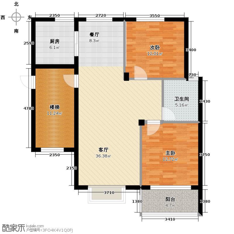 德意义和花园88.30㎡A伯爵(东)户型2室1厅1卫1厨