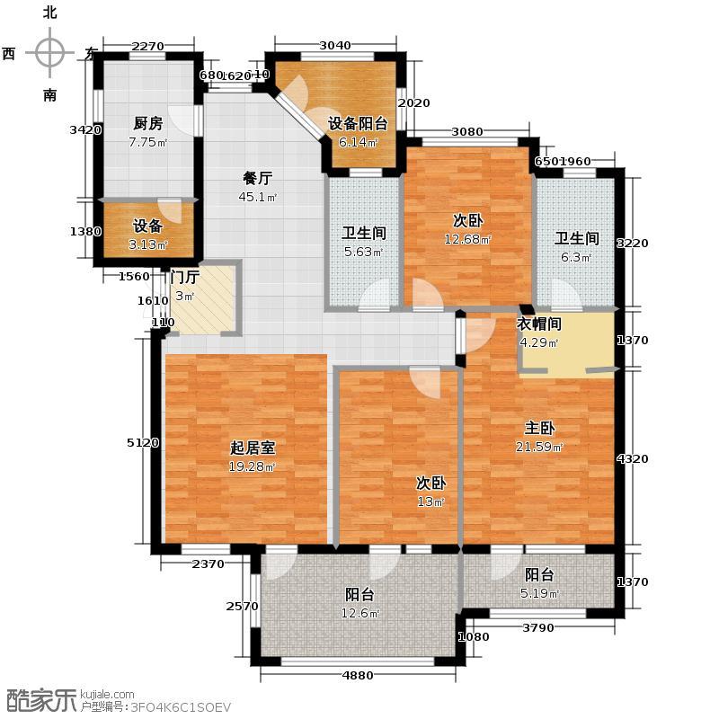 绿城蓝庭153.00㎡花园洋房B3户型3室2厅2卫