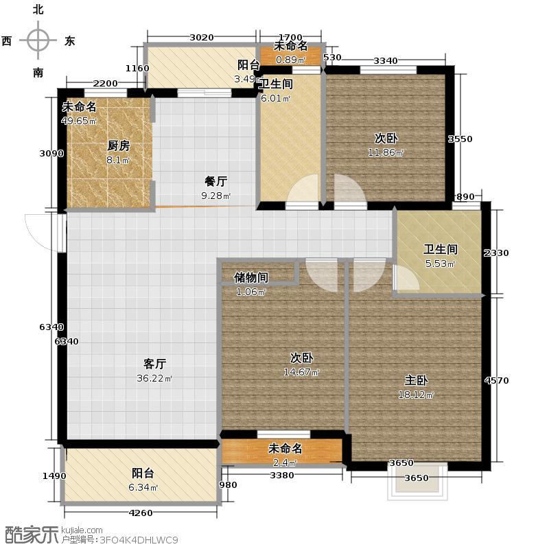 南湖明筑127.00㎡户型3室2卫