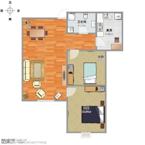 君悦府2室1厅1卫1厨85.00㎡户型图