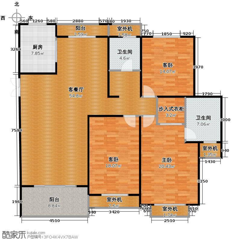 良渚文化村竹径茶语145.35㎡户型3室1厅2卫1厨