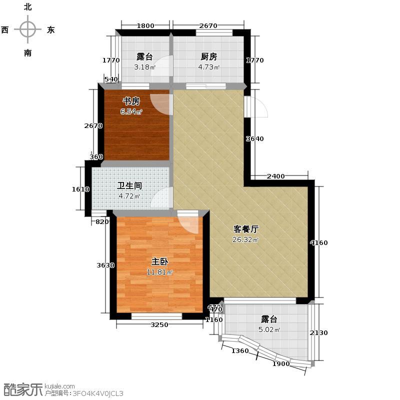 观澜时代排屋72.20㎡1号楼A户型2室1厅1卫1厨