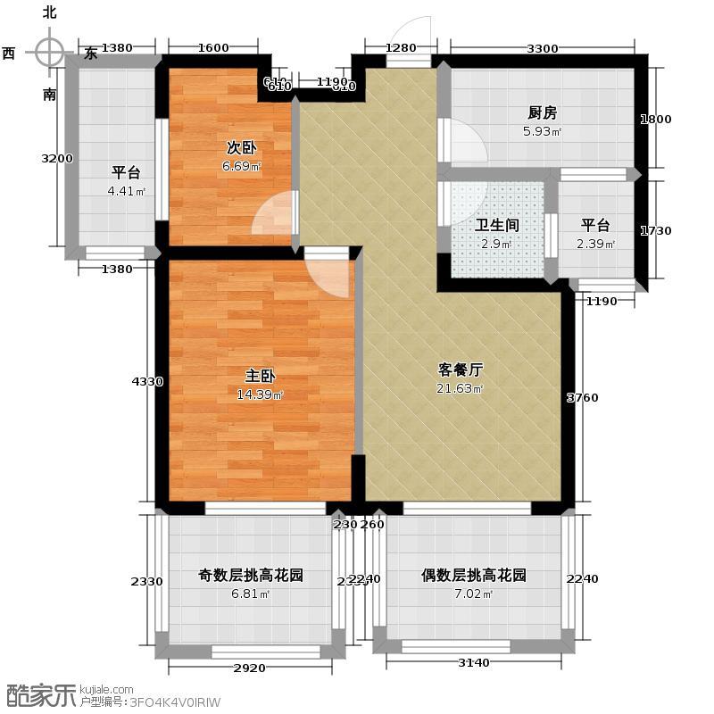 保利东湾排屋84.50㎡四期10号楼标准层H2户型2室1厅1卫1厨