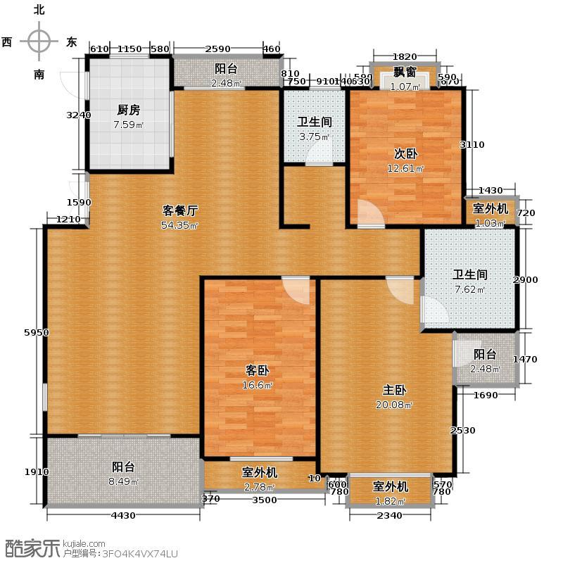 良渚文化村竹径茶语146.86㎡户型3室1厅2卫1厨