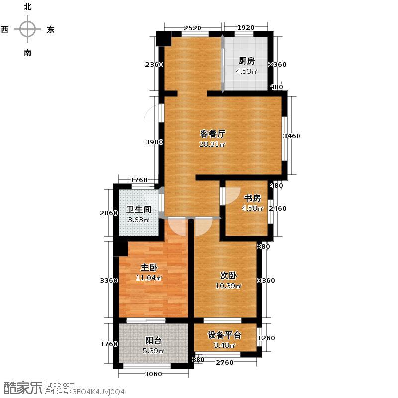 德信北海公园89.00㎡D1奇数层户型3室1厅1卫1厨