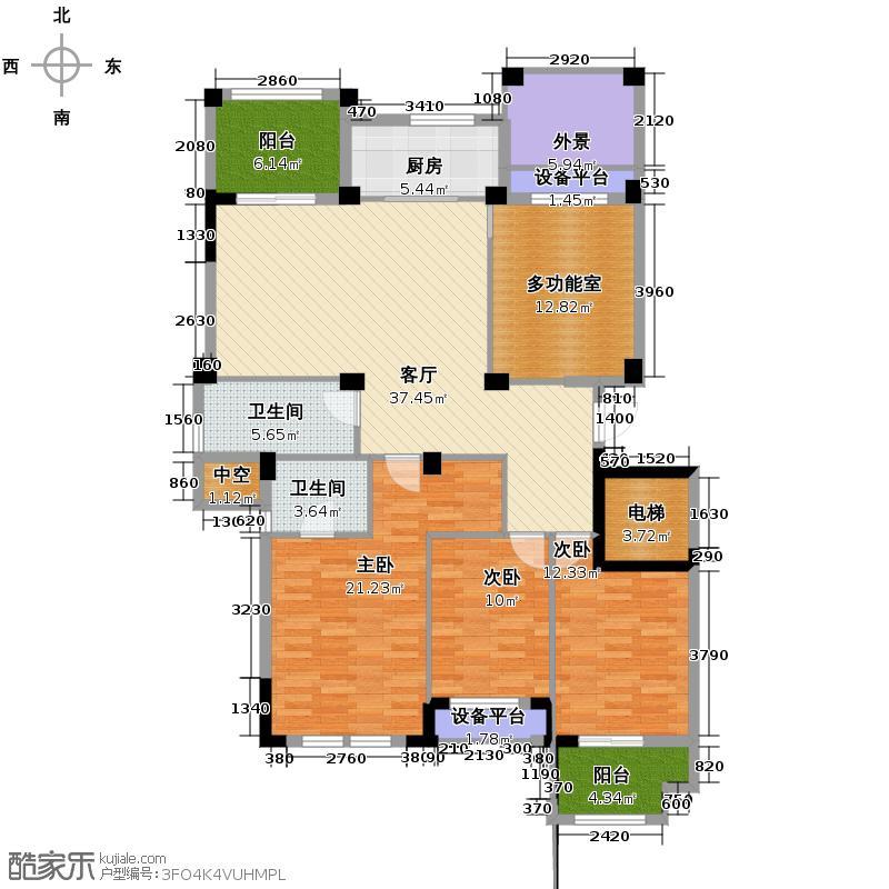 华元蒙卡岸128.00㎡一期3号、4号楼中间套标准层L2户型3室1厅2卫1厨