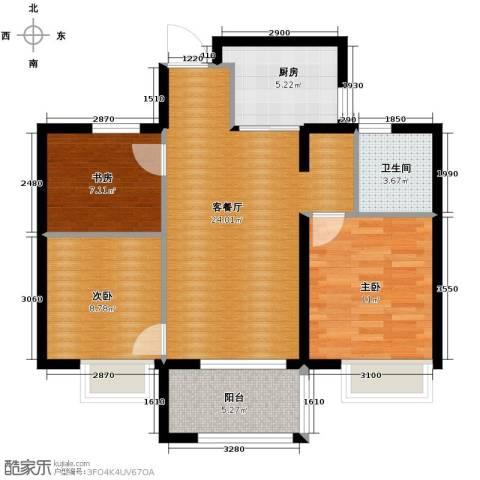 万科草庄西岸3室1厅1卫1厨89.00㎡户型图