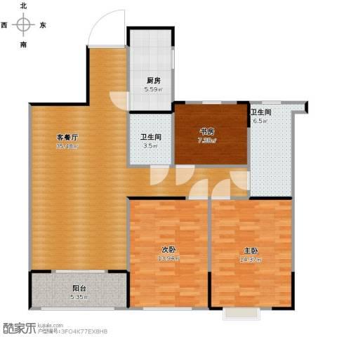 信远朗庭3室1厅2卫1厨124.00㎡户型图