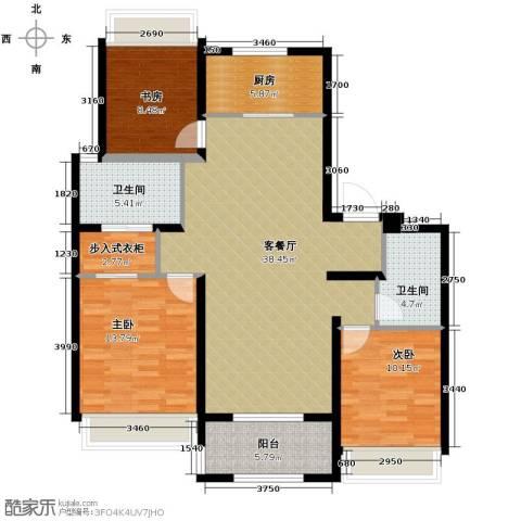 万科草庄西岸3室1厅2卫1厨131.00㎡户型图