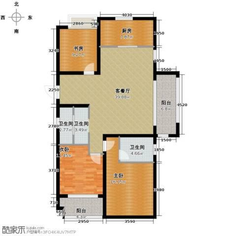 万科草庄西岸3室1厅2卫1厨132.00㎡户型图