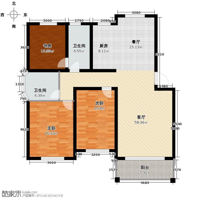 南湖明筑137.39㎡户型3室1厅2卫