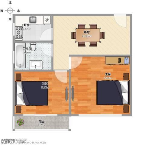 威宁小区2室1厅1卫1厨63.00㎡户型图