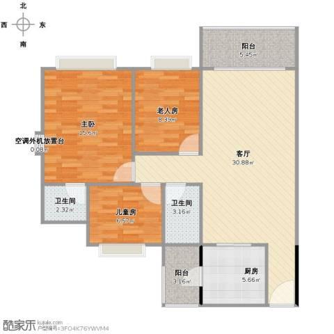 瀚华花园3室1厅2卫1厨110.00㎡户型图
