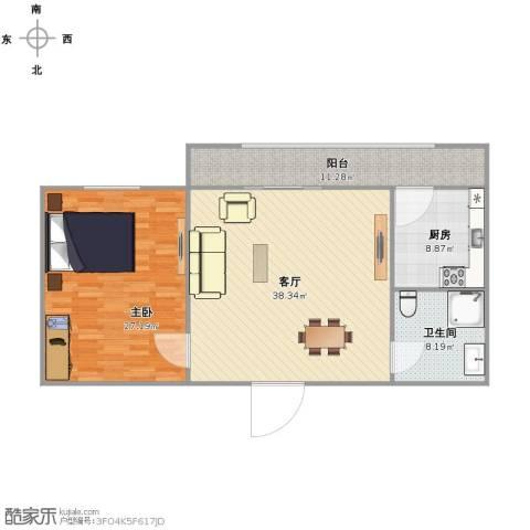富水一方1室1厅1卫1厨102.00㎡户型图