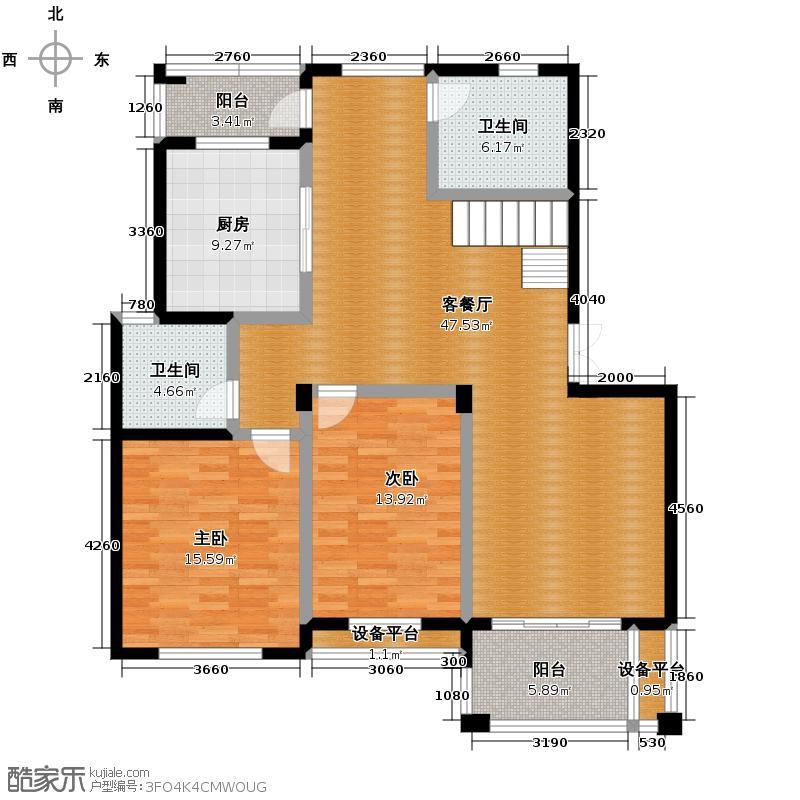 华瑞湘湖美地265.00㎡F3一层户型2室1厅2卫1厨