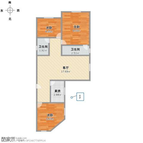 富丽公寓西区3室1厅2卫1厨62.00㎡户型图