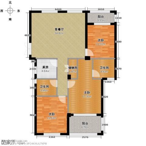 金溪园3室1厅2卫1厨129.00㎡户型图