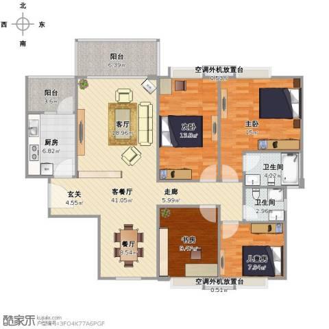 新长江顺心居4室1厅2卫1厨152.00㎡户型图